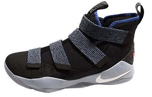NIKE Men's Zoom Lebron Soldier XI Basketball Shoes (10.5, Black/Deep Royal Blue-M)