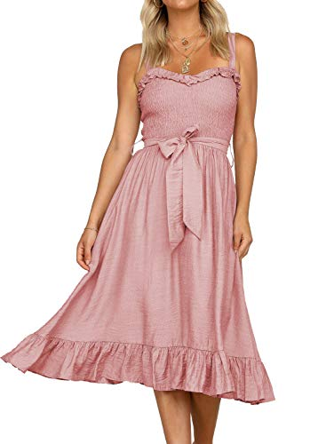 MIHOLL Women's Spaghetti Strap Ruffle Midi Flared Dress Sleeveless Tie Waist Dress (Medium, Pink)