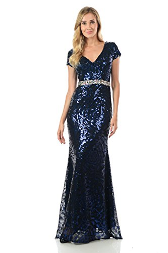 TwinMod Sheer Floral Sequined Cap Sleeve Crystal Evening Dress (XLarge, Royal/Black)