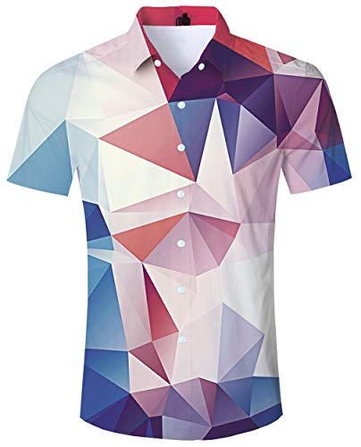 ALISISTER Striped Hawaiian Shirt Adult 3D Printed Casual Shirts for Men Tropical Button Dress Down Collar Blouse Short Sleeve XL]()