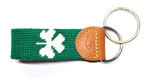 - Hand-Stitched Needlepoint Key Fob or Key Chain by Huck Venture (Shamrock)