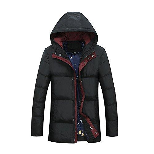 noir 4XL FYM Vestes DYF Manteau Hommes Down veste Couleur uni Taille Moyenne durée épaissi