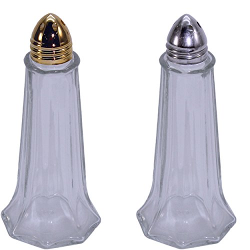 Glass Salt Pepper Shakers Chrome product image