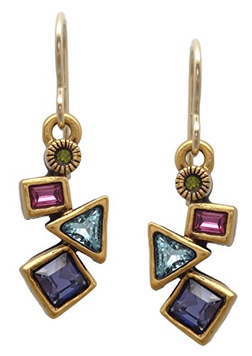 Patricia Locke Celebration Multi Color Flurry Swarovski Crystal Goldtone Hook Earrings