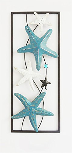 All American Collection Modern Chic Aluminum/Metal Wall Decor Frame | Starfish Turquoise]()