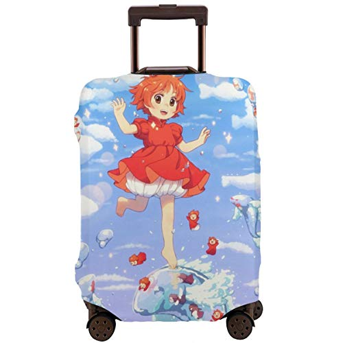 Anime Ponyo On The Cliff Travel Luggage Cover Suitcase Protector Washable Baggage Luggage Covers Zipper Fits 26-28 Inch