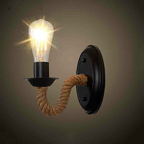 Mozeny Loft Hemp Rope Iron Metal Wall Light Fitting Antique Retro One-Flame E27 Edison Disign Light Wall Lamp Corridor Light Kitchen Light Barn Warehouse Bar Industrial Vintage Wall Sconce
