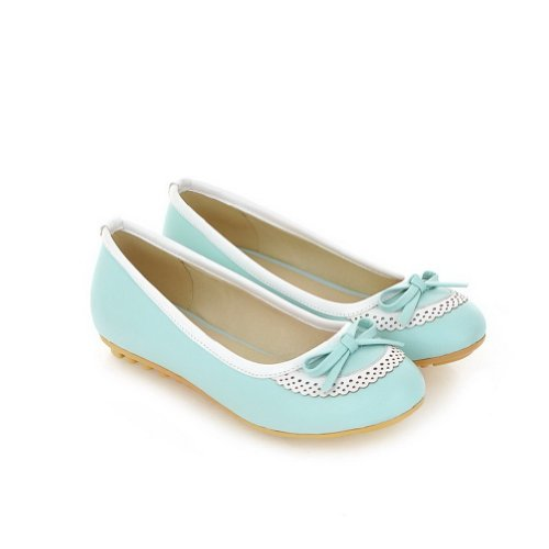 WeenFashion Womens Closed Round Toe Soft Material PU Solid Flats whith Bowknot Blue 8rvqCAN