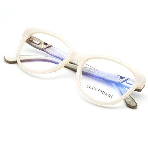 OCCI CHIARI Women Shine Acetate Eyeglasses Frames With Clear Lenses(Ivory White/Gry, - White Eyeglasses