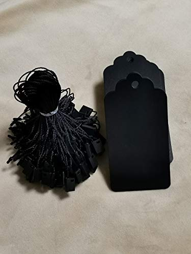 100 PCS Black Gift Tags,Kraft Paper Marking Tags Large Hang Tags Clothing Price Tags with Black Snap Lock Pin Sting