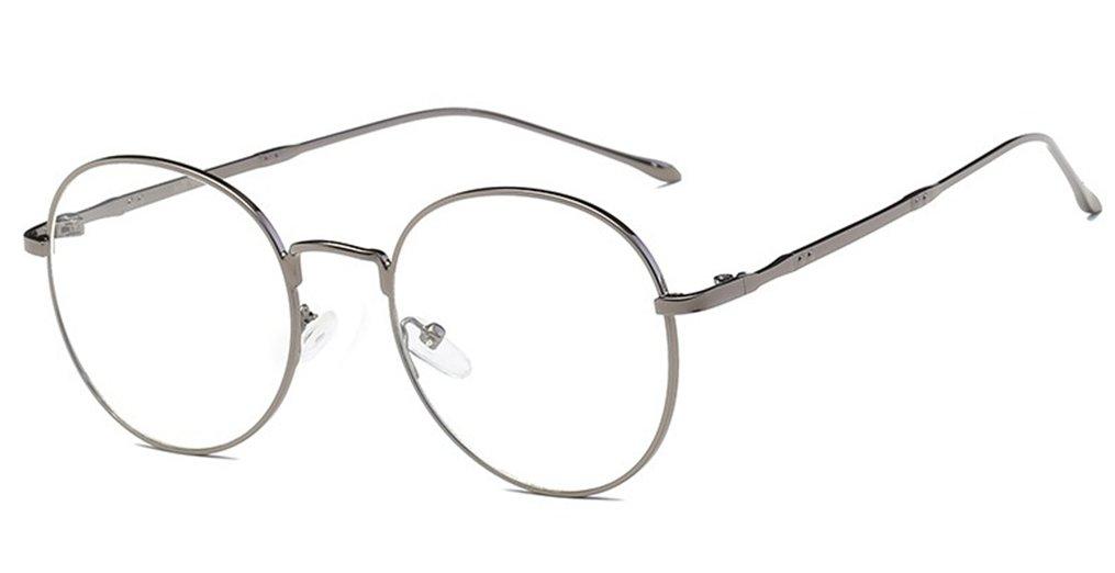 DAUCO Retro Round Prescription ready Metal Eyeglass Frame Clear Lens