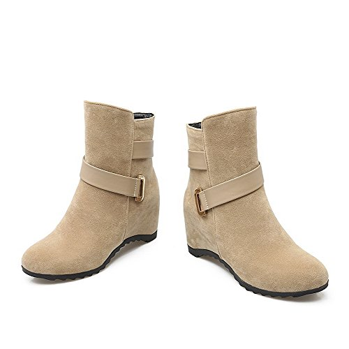 Allhqfashion Women's Kitten-Heels Frosted Low-top Solid Pull-on Boots Beige dEOBUT
