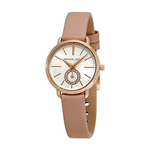 Pink Watch Leather (Michael Kors Women's Quartz Stainless Steel and Leather Casual Watch, Color:Pink (Model: MK2735))
