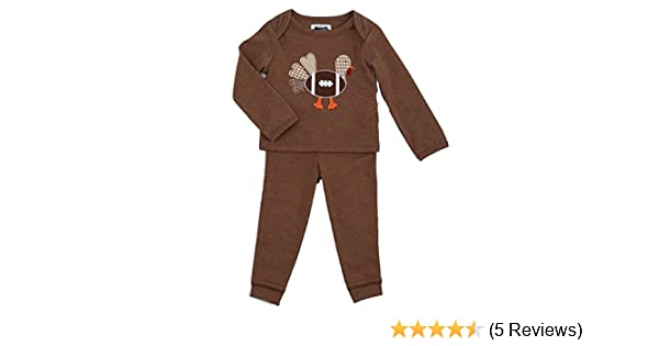 Mud Pie Baby Boys Thanksgiving Pajamas 2 Pc Set Football Turkey Applique 1012186