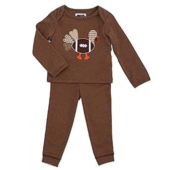 990d2ce9e9a4 Amazon.com  Mud Pie Baby Boys Pajama 2-Pc Set Football Turkey ...