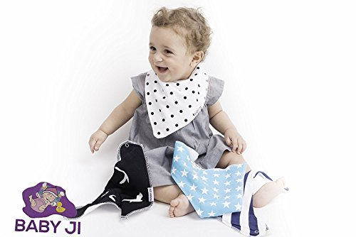 Baby Ji Bandana Drool Bibs – Fashionable Super Absorbent 100% organic cotton. adjustable Snaps - 4 Pack. Cute Baby Shower Gift. 2 Free Bonus: Corner Safety Bumpers + Ebook Total Toddler Care