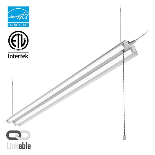 LeonLite 40W 4ft Linkable LED Utility Shop Light, Double-Tube T8 LED, 4000lm 120W Equivalent, ETL & Energy Star Certified Suit for Garage, Workbench, Office, Warehouse, 5000K - Suit Warehouse
