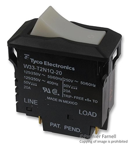 TE CONNECTIVITY/POTTER & BRUMFIELD W33-T2N1Q-20 CIRCUIT BREAKER, THERMAL, 2P, 250V, 20A