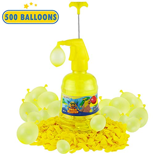Toyrifik Water/Air Balloon Pumping Station Emoji Blaster - 500 Balloons Water Filler Balloon Pump Kit- Summer Outdoor Backyard Fun Activity for Kids