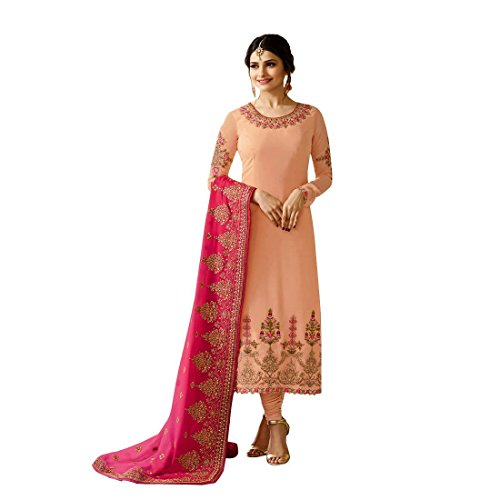 - Laxminarayan Peach Georgette Embroidered Churidar Straight Salwar Suit with Pure Banarasi Silk Dupatta (Small)