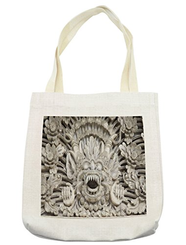 Lunarable Balinese Tote Bag, Bali Sculpture Historic Sandstone Spiritual Ceremony Oriental Tourist Attractions, Cloth Linen Reusable Bag for Shopping Groceries Books Beach Travel & More, (Tourist Costume Makeup)