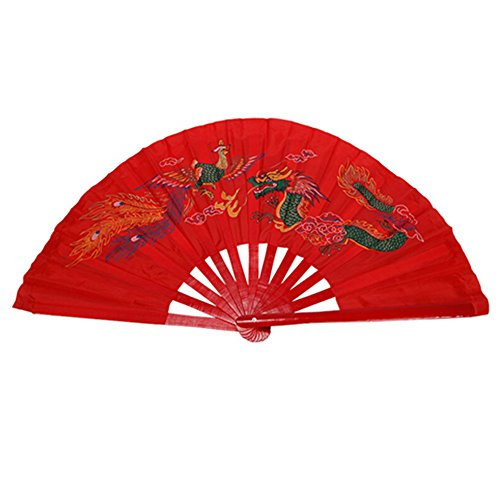 Martial Art Weapon Traditiona Tai Chi Kung Fu Fighting Fan, Bamboo Frame, Red (Chinese Phoenix and Dragon )