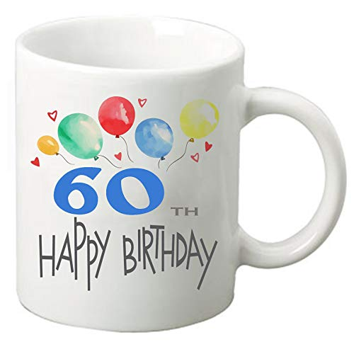 Happy Birthday 11 oz ounce Coffee Tea Mug Cup White Ceramic Celebration for Friends and Family (60th)