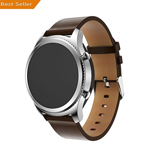 Price comparison product image For Samsung Gear S3 Frontier, Outsta Replacement Leather Watch Bracelet Strap Band