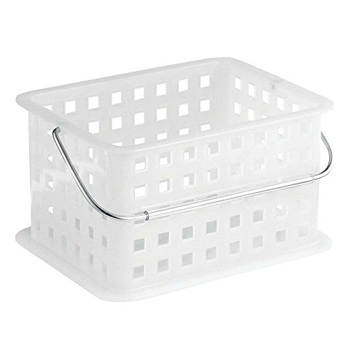 "InterDesign Spa Plastic Storage Organizer Basket with Handle for Bathroom, Health, Cosmetics, Hair Supplies and Beauty Products, 9.25"" x 7"" x 5"", Frost White"