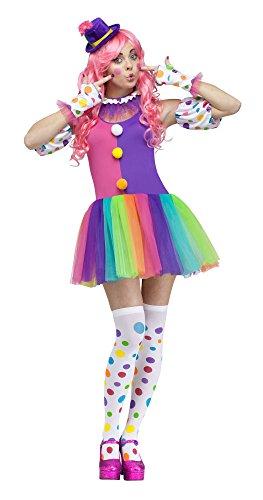 Fun World Women's Clownin' Around Adult Costume, Purple/White, Small/Medium ()
