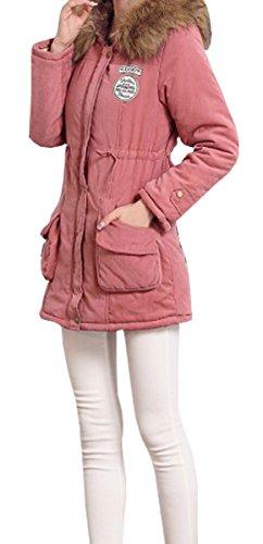 BLACKMYTH Invierno Mujer Cálido Capa Capucha Pelo Parka Jacket Outwear Rosa