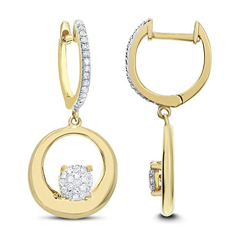 DIAMOND COUTURE 14K Round Dangle 0.25 Carat Diamond Earrings Available In Yellow And Rose GOLD, Double Circle Earrings for Women and Girls, I-J color, I1-I2 Clarity