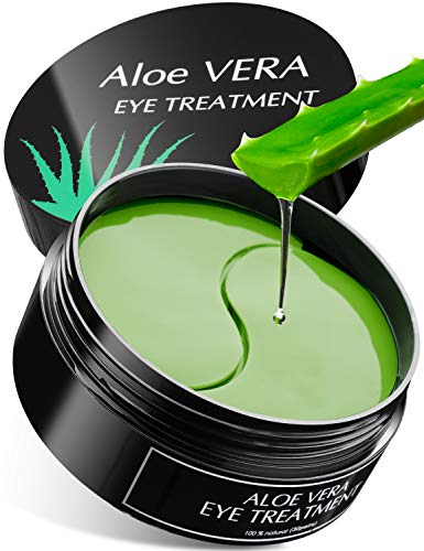 Aloe Vera Eye Treatment Mask Reduce Puffy Eyes, Wrinkles, Dark Circles & Eye Bags, Under Eye Patches with Hyaluronic Acid & Collagen, Gel Pads Cooling & Moisturizing, Anti Aging Hydrogel Patch