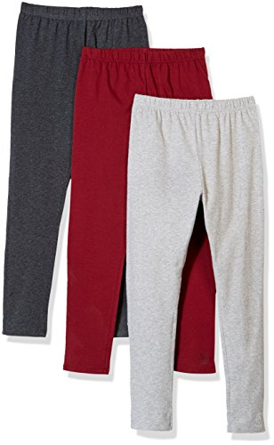 Solid Stretch Cotton (Kid Nation Girls' 3 Pack Solid Cotton Stretch Classical Leggings L Burgundy+Gray+Charcoal Heather)