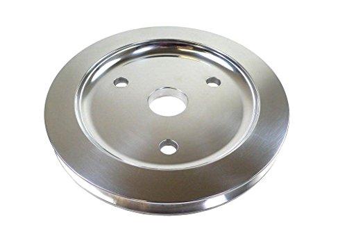 SBC Polished Aluminum Short Water Pump Single Groove Crank Pulley