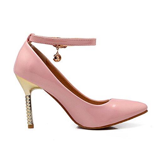 Amoonyfashion Donna In Pelle Verniciata Fibbia A Punta Punta Chiusa Scarpe Con Tacco A Spillo Pompe-scarpe Rosa