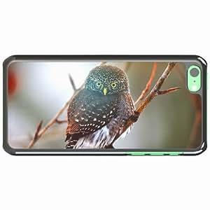 iPhone 5C Black Hardshell Case owl branch glare Desin Images Protector Back Cover