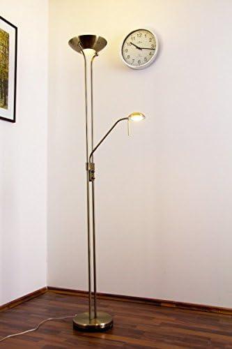 Lámpara de pie LED de latón antiguo Rom con brazo de lectura: Amazon.es: Iluminación