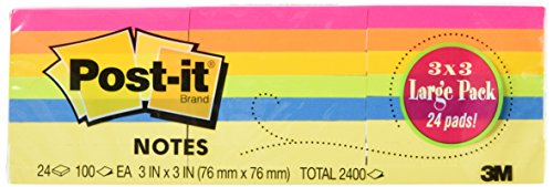 Post-it Notes, Original Pad, 3 Inches x 3 Inches, Assorted Neon Colors, Value Pack, 24 Pads per Pack (Total 2400)