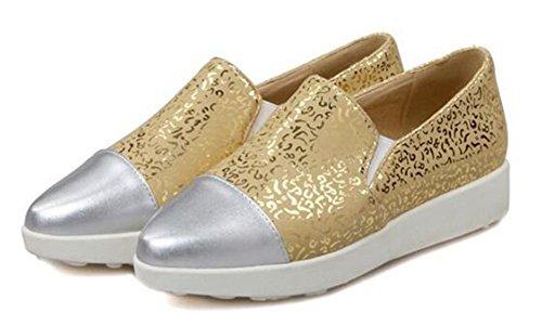 Chfso Donna Sneakers A Punta Piatta Basso Basso A Punta Elastica In Oro