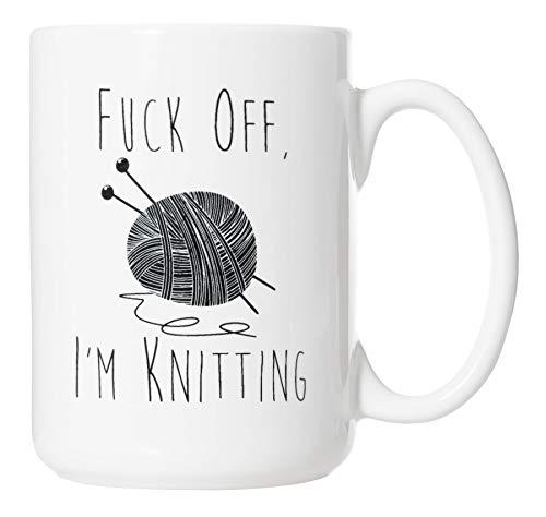 Fuck Off I'm Knitting Mug - Funny Knitter Crochet 15oz Deluxe Double-Sided Coffee Tea Mug