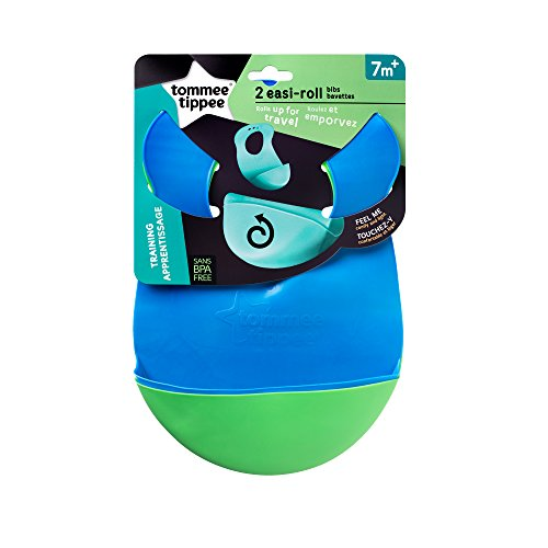 Tommee Tippee Easi Roll Drip Catcher Baby Bib, 7+ months - Blue and Green, 2 Count by Tommee Tippee (Image #1)