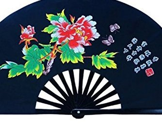 Red Bamboo Bone Peony 38cm Morning Tai Chi Fan Tai Chi Fan Kung Fu Martial Arts Black