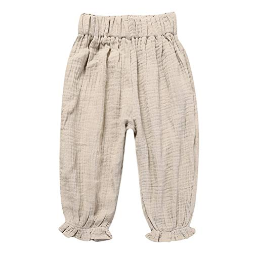 Kids Girl Elastic High Waist Solid Color Casual Spring Summer Cotton Linen Pants