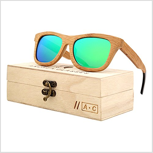 JapanX Bamboo Sunglasses & Wood Wooden Sunglasses for Men Women, Polarized Lenses Gift Box – Wooden Vintage Wayfarer Sunglasses - Bamboo Wood Wooden Frame – New Style Sunglasses (A1 - Cheap Sunglasses Gq