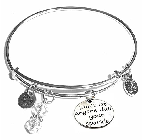 Message Charm (46 words to choose from) Expandable Wire Bangle Bracelet, in the popular style, COMES IN A GIFT BOX! (Don't Let anyone dull your sparkle)