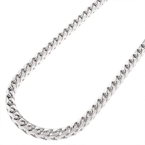 (Sterling Silver Italian 3.5mm Solid Franco Square Box Link 925 Rhodium Necklace Chain 20
