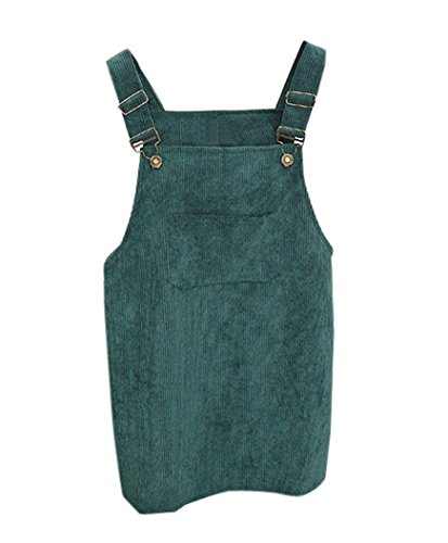 Minetom Kleider Damen Mädchen Frühling Sommer Elegant Cord Straps Kurze Tasche Gerade Weste Lose Rock Kleid Grün rsoAbsV7
