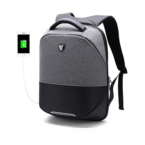 Business Travel Laptop Backpack,Outdoor Anti-theft Waterproof with USB Charger Port Function Bag,Fixed Shape Is Not Easily Deformed Daypack,Suitable for 15.6'' Laptop Macbook Ipad Men Women (grey) by JKBW