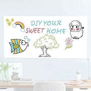 Rabbitgoo White Board Sticker 17.5 by 78.7 Inches Self-Adhesive Wall Sticker for School/Office/Home